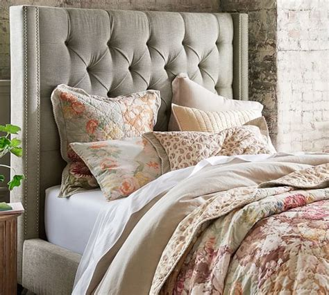 harper upholstered tufted tall bed headboard pottery barn