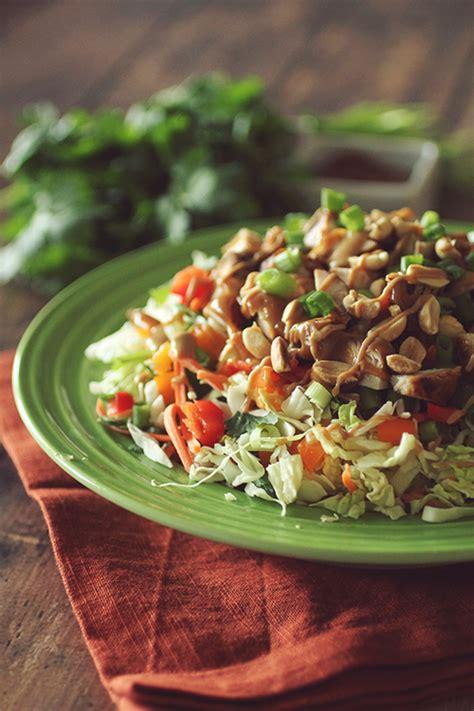 thai crunch chicken salad  peanut dressing dashing dish