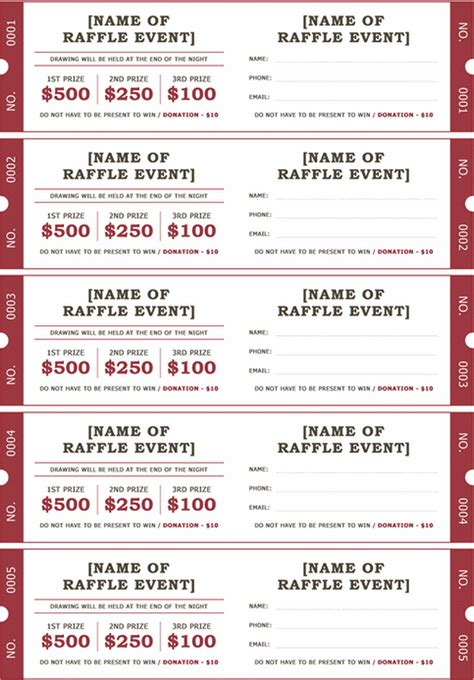 printable raffle ticket templates  wikidownload