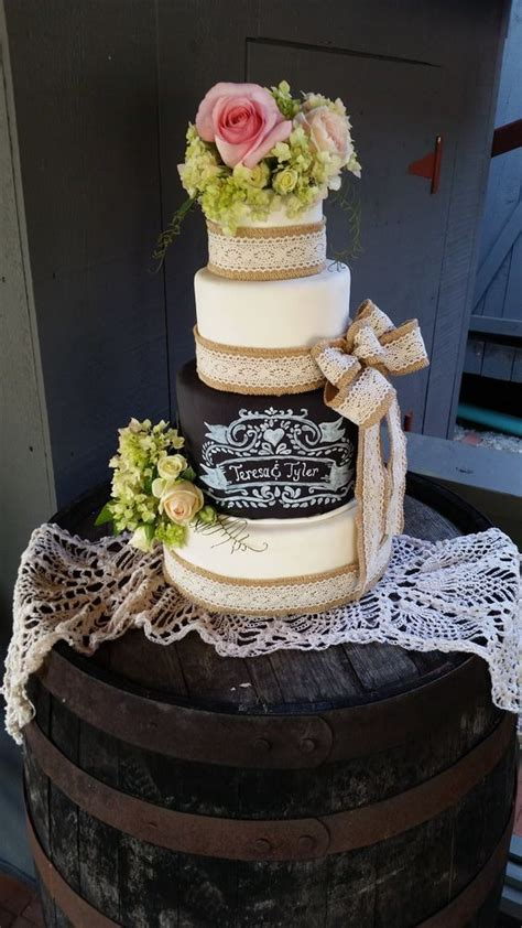 Burlap And Lace And Chalkboard Wedding Cake My Cakes