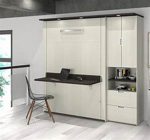 Lit Escamotable 2 Places : lit escamotable double avec bureau et 1 unit de rangement ~ Melissatoandfro.com Idées de Décoration