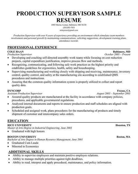 Supervisor Resume Objective by Resume Objective For Manufacturing Best Resume Collection