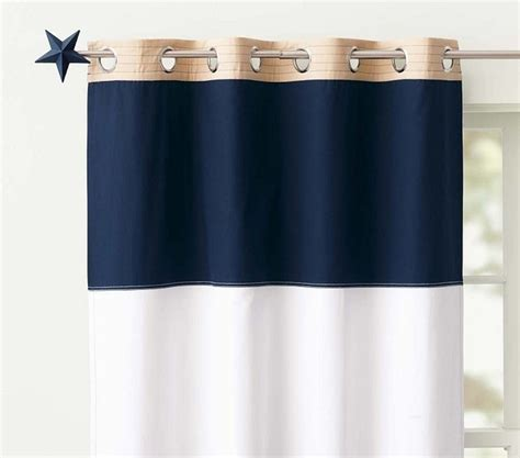 rugby blackout panel navy white style curtains