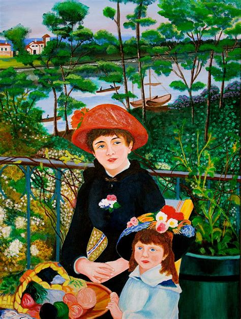 renoir two on the terrace version of renoir s two on the terrace painting by
