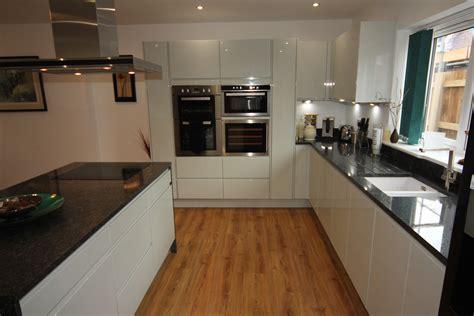 White Gloss Kitchen with Black Granite Worktops, Worcester