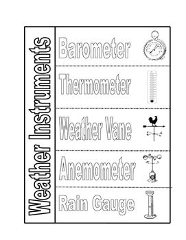 weather instruments foldable by liz in the classroom tpt