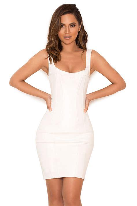 clothing bodycon dresses adelise white vegan leather
