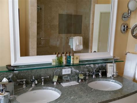 Double Sink Marble Vanity. Note The Tv Built In To The