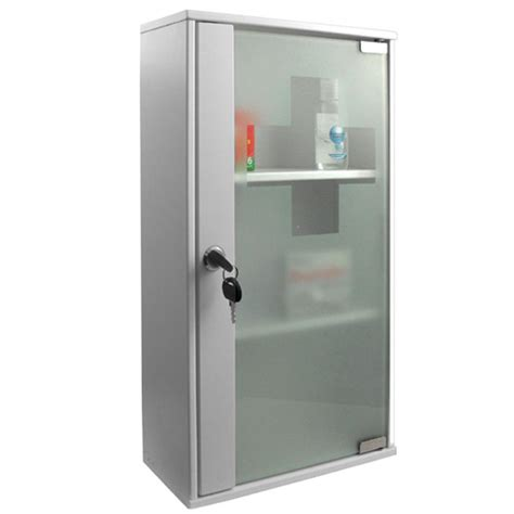 Lockable Medicine Cabinets Uk by 3 Tier White Medicine Cabinet With Frosted Glass Cross