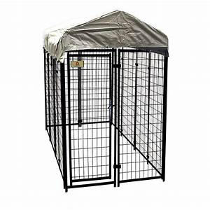 Kennelmaster 4 ft x 8 ft x 6 ft welded wire dog fence for Dog run fence home depot
