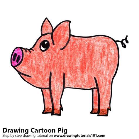 learn   draw  cartoon pig cartoon animals step