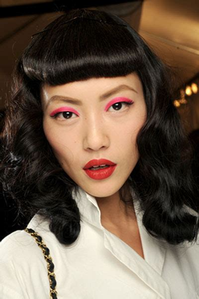 Liu Wen?s Vintage Pin Curls Hairstyle with Baby Bangs