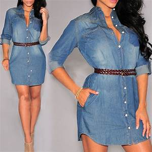 Jeans Wool Open Style Button Down Dresses u2013 Designers ...