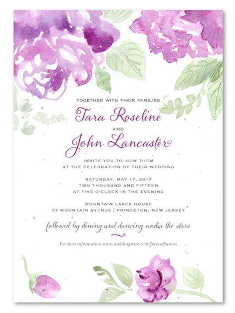 purple flower wedding invitations  seeded paper
