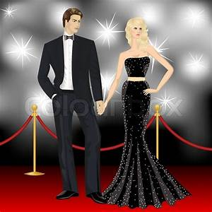 Fashion woman and elegant man in front of the paparazzi on ...