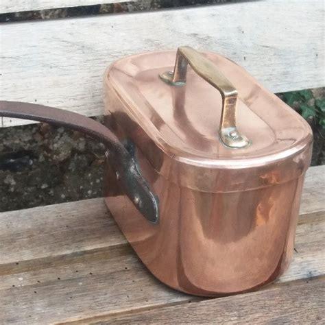 antique french copper daubiere  lid en