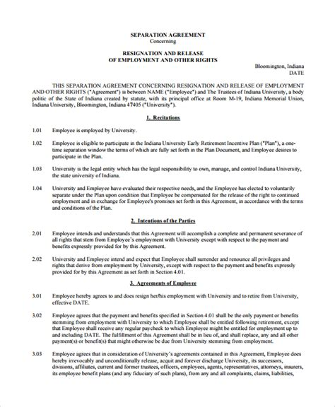 employee separation agreement template 10 employment separation agreements sle templates