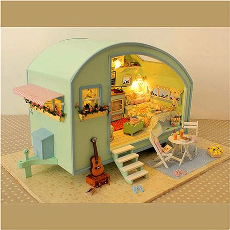 Cuteroom Diy Wooden Dollhouse Miniature Kit Doll House Led