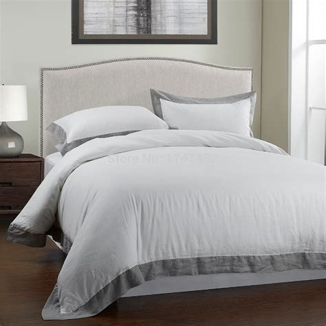 100%linen Stone Wash Bedding Set With Grey Borderin