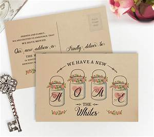 New home cards printed on kraft paper change of address for Custom new address cards