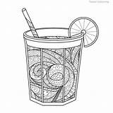 Coloring Zentangle Lemonade Glass Adults Monochromatic Isolated Books Uploaded Shutterstock sketch template