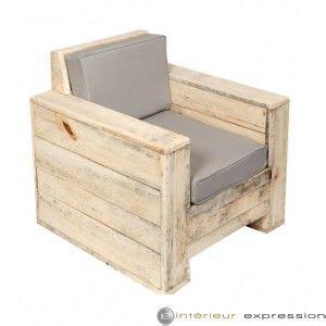 fauteuil bois brut et coussin quot baliveau quot eco durable