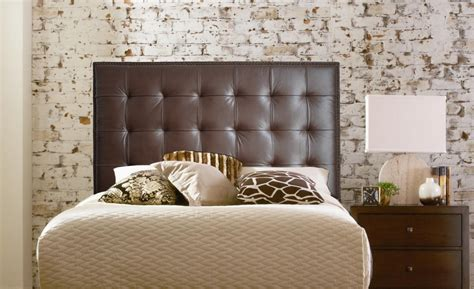 Bedroom Black Wall Mounted Headboard With Two Nightstands