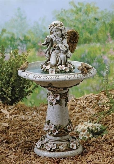 23 quot angelwith birds birdbath outdoor garden statue ebay