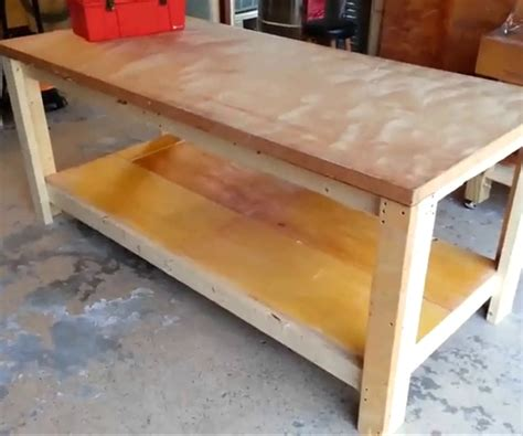 how to build a work bench how to build a garage workbench diy project cut the wood
