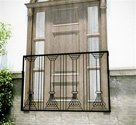 decorative iron stair railings easy curb appeal just add faux balconies the balcony