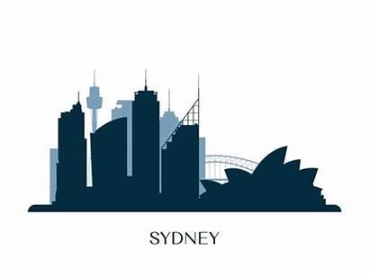 Sydney Skyline Silhouette Vector Illustration Monochrome Clip