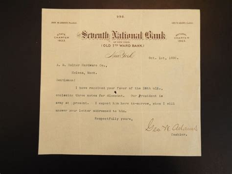 insert correct consulate i.e., dc, pa, ny consulate general of italy visa office suite 1026 public ledger building 150 south. 1896 Seventh National Bank letterhead letter | eBay