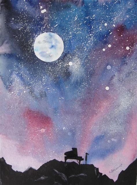 beautiful watercolor night sky painting ideas