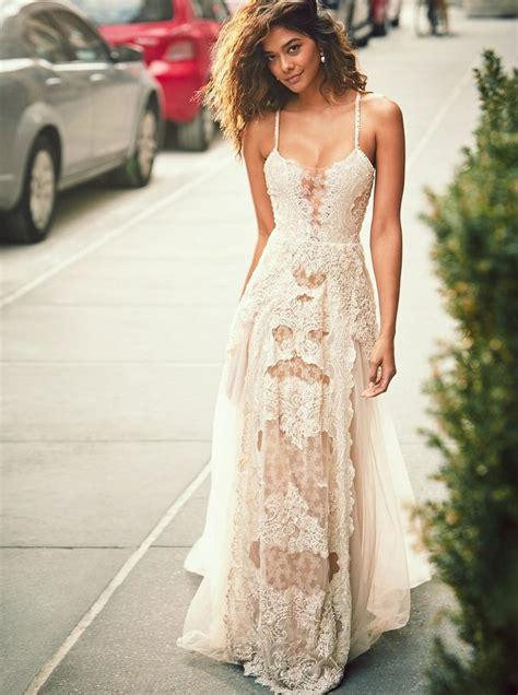 A Line Spaghetti Straps Boho Beach Wedding Dress With Lace