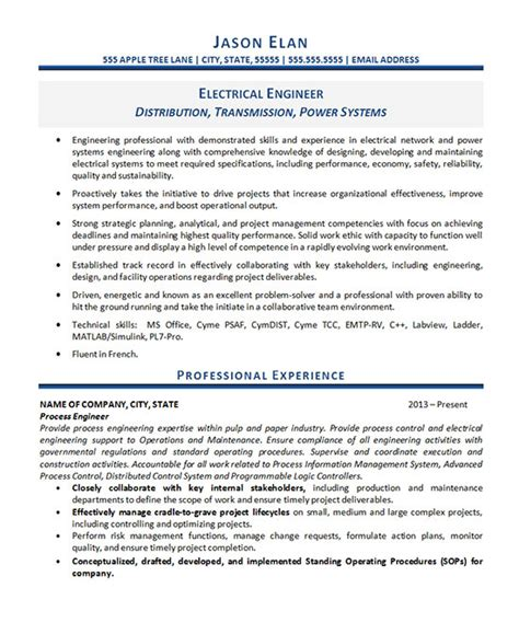 experience resume electrical enginer electrical engineer resume exle
