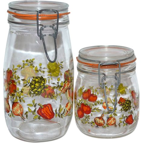 glass kitchen canister sets 1970s set of 2 glass kitchen canister jars from