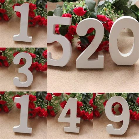 number decorations 1pcs white wooden number 0 9 bridal wedding birthday