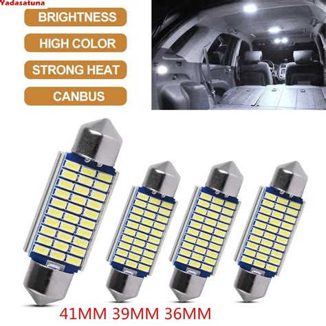 kit 10 lada torpedo 41mm 33 4014 smd led super branca teto placa canceller teto xenon pingo
