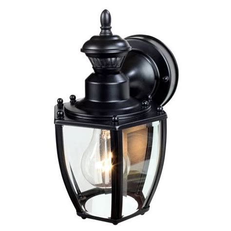 motion activated porch light heath zenith 11 in h black motion activated outdoor wall