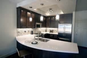 modern kitchen countertops and backsplash townhome kitchen with espresso cabinets and white quartz counters