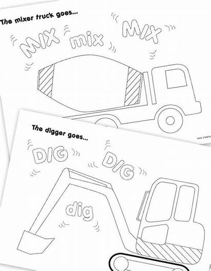 Construction Colouring Vehicle Party Pages Printables Birthday