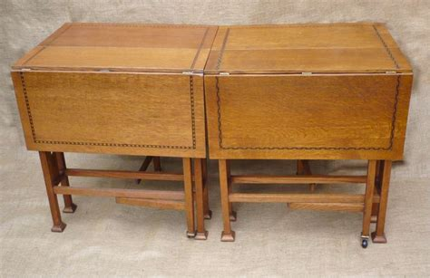 arts and crafts table ls pair of inlaid arts and crafts drop leaf tables art