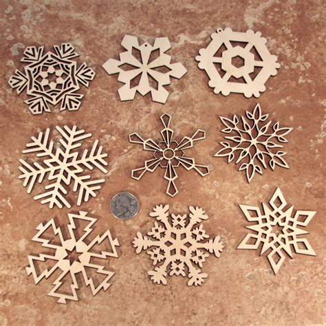 wooden laser cut holiday snowflake ornaments 3 inch
