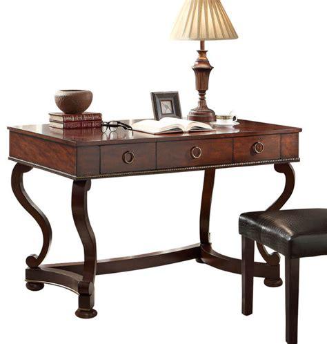 homelegance maule writing desk   drawers  cherry