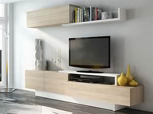 Meuble Tv Au Mur : mur tv monty avec rangements blanc ch ne ~ Teatrodelosmanantiales.com Idées de Décoration
