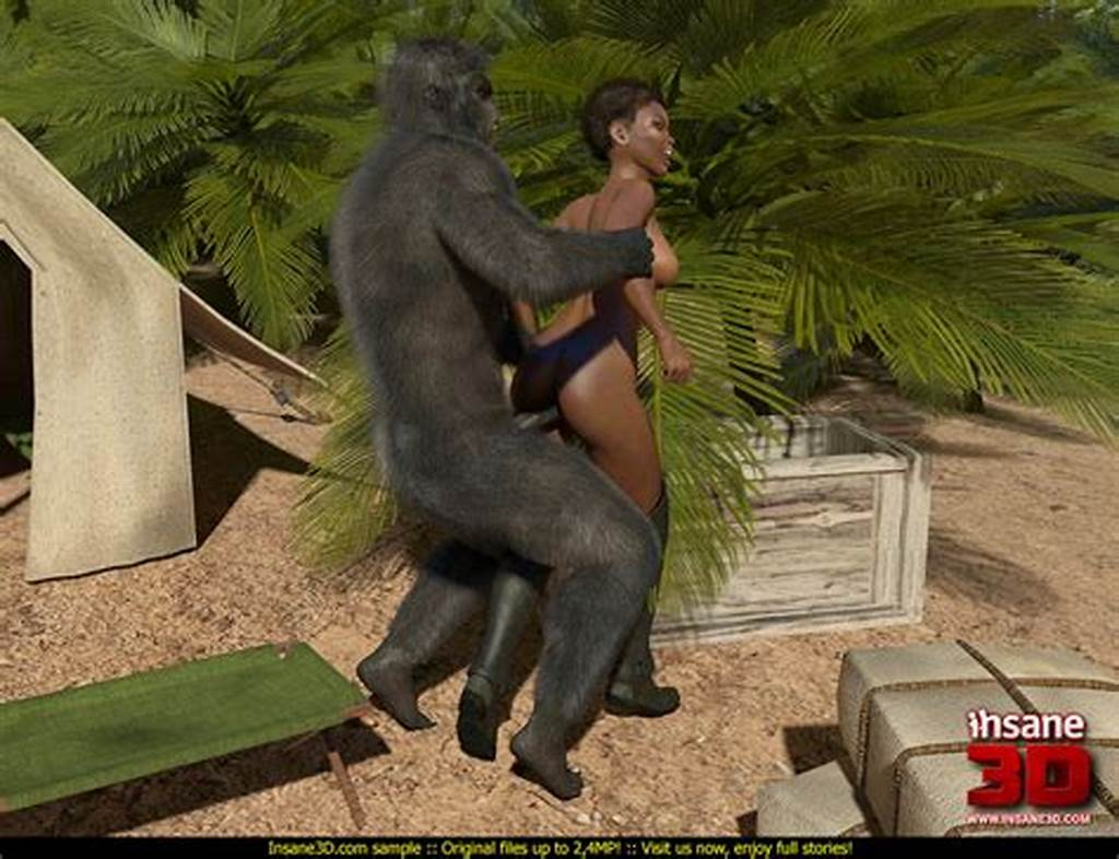 #Short #Haired #Ebony #Model #Gets #Rammed #By #A #Nasty #Gorilla
