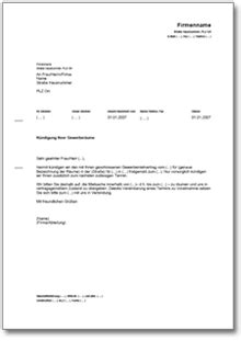 Kündigung Gewerbemietvertrag (fristgemäß, Vermieter) • De
