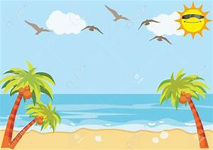 Summer clipart beach background - Pencil and in color ...