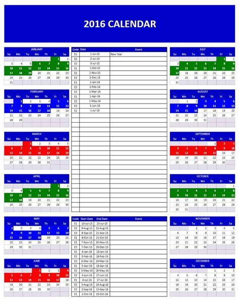 2016 calendar template 2016 calendar templates microsoft and open office templates