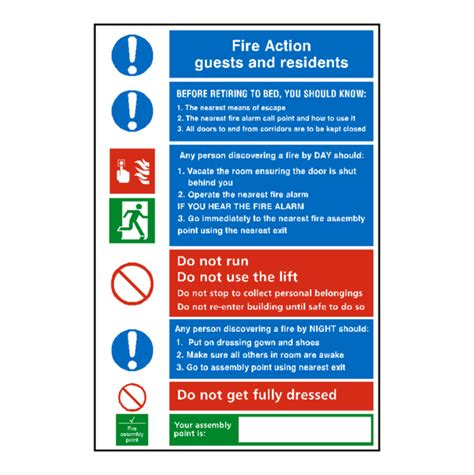 hotel fire action notice sign safety label co uk